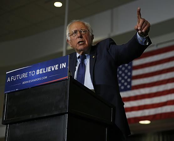 Democratic presidential candidate Bernie Sanders speaks to the crowd gathered at Drexel University in Philadelphia on Monday, April 25, 2016. (Michael Bryant/Philadelphia Inquirer/TNS)